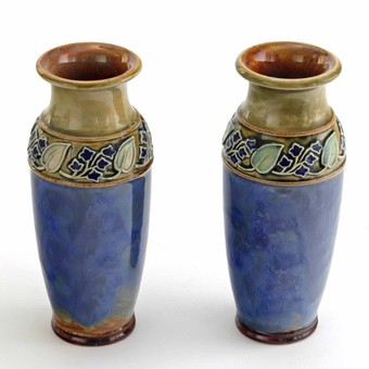 Antique Pair of Royal Doulton Art Nouveau Stoneware Vases c1925