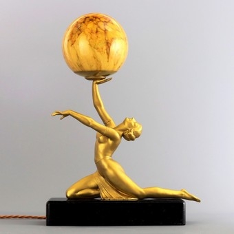 Antique Art Deco Gilded Figural Table Lamp With Marbled Glass Globe c1930