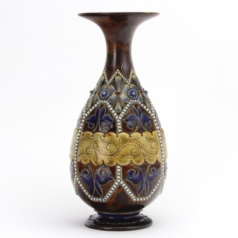Antique Doulton Lambeth Incise-Decorated Stoneware Vase by Elizabeth Fisher c1885