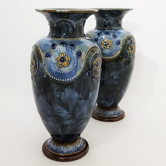 Antique Pair of Royal Doulton Stoneware Vases c1910