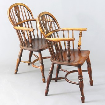 Antique Set of Four 19th Century Ash and Elm Low Back Windsor Chairs c1840