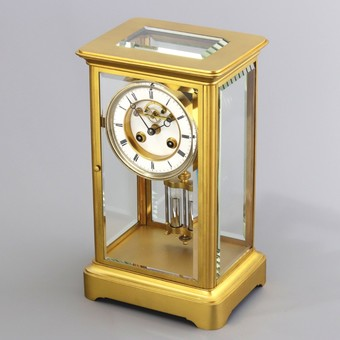 Antique Gilt Four Glass Mantel Clock with Visible Escapement by Marti et Cie c1875