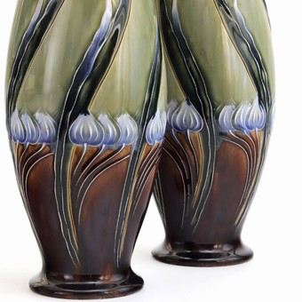 Antique Tall Mirrored Pair of Royal Doulton Secessionist Vases by Eliza Simmance c1903