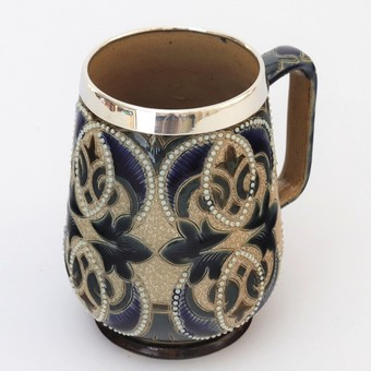 Antique Doulton Lambeth 1880 Decorated Mug with (Mappin & Webb) Silver Mount 1881
