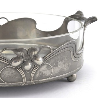 Antique Orivit Art Nouveau Pewter and Cut Glass Lined Centrepiece Bowl c1910