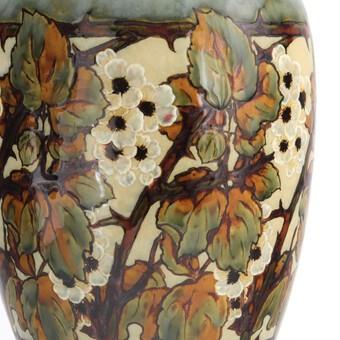 Antique Large Doulton Stoneware Vase With Flowering Blackberry by Eliza Simmance c1910