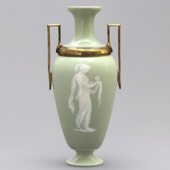 Tall French Limoges Pate-Sur-Pate Celadon Vase with Ormolu Mounts c1880