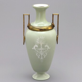 Antique Tall French Limoges Pate-Sur-Pate Celadon Vase with Ormolu Mounts c1880