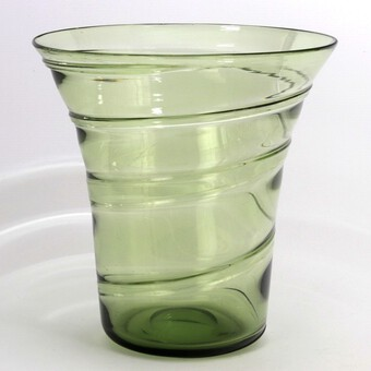 Antique Large Whitefriars Sea-Green Ribbon Trail Glass Vase by Barnaby Powell c1930s