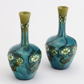 Antique Pair of Minton Secessionist Tubeline Decorated Turquoise Vases c1900
