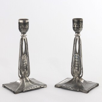Antique Pair of WMF Antique Silver Plated Candlesticks in the Secessionist Style c1890