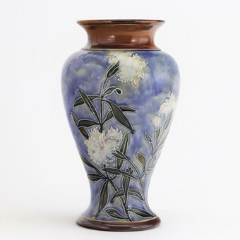 Royal Doulton Stoneware Tubelined Vase with Verse by Bessie Newbery c1910