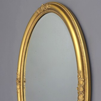 Antique Late 19th Century Gilt Oval Bevelled Mirror with Acanthus Decoration c1880