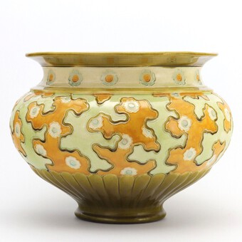 Large Burmantofts Faience Decorated Art Nouveau Jardiniere c1890
