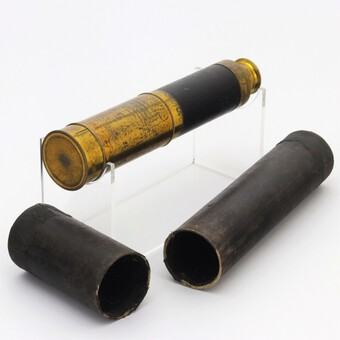 Early 19th Century Cased Leather Bound Three-Draw Telescope c1820