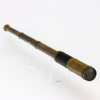 Antique Early 19th Century Cased Leather Bound Three-Draw Telescope c1820