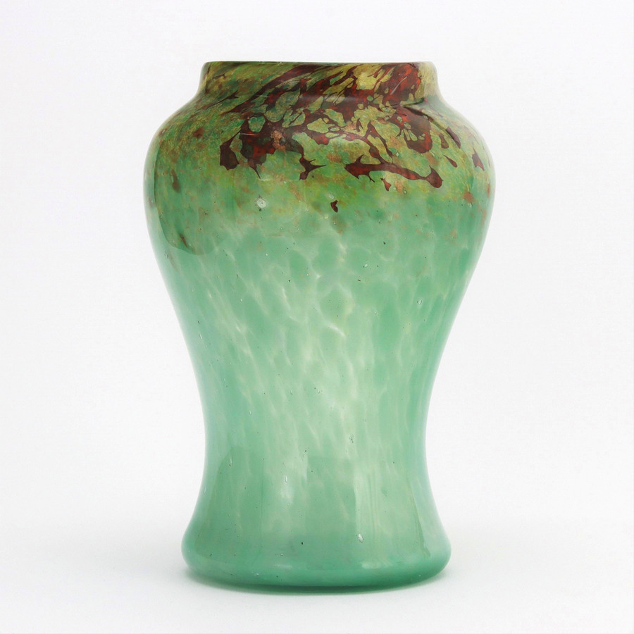 Monart Art Glass Vase in Sea-Green and Red with Gold Aventurine c1930