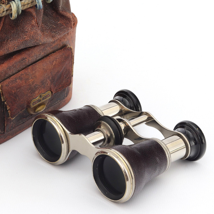 Leather and Chrome Opera Glasses with Original Carry Bag c1920s