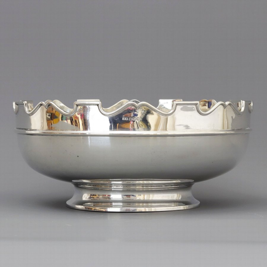 Large Art Deco Silver Pedestal Bowl by Henry Wigfull, Sheffield 1920