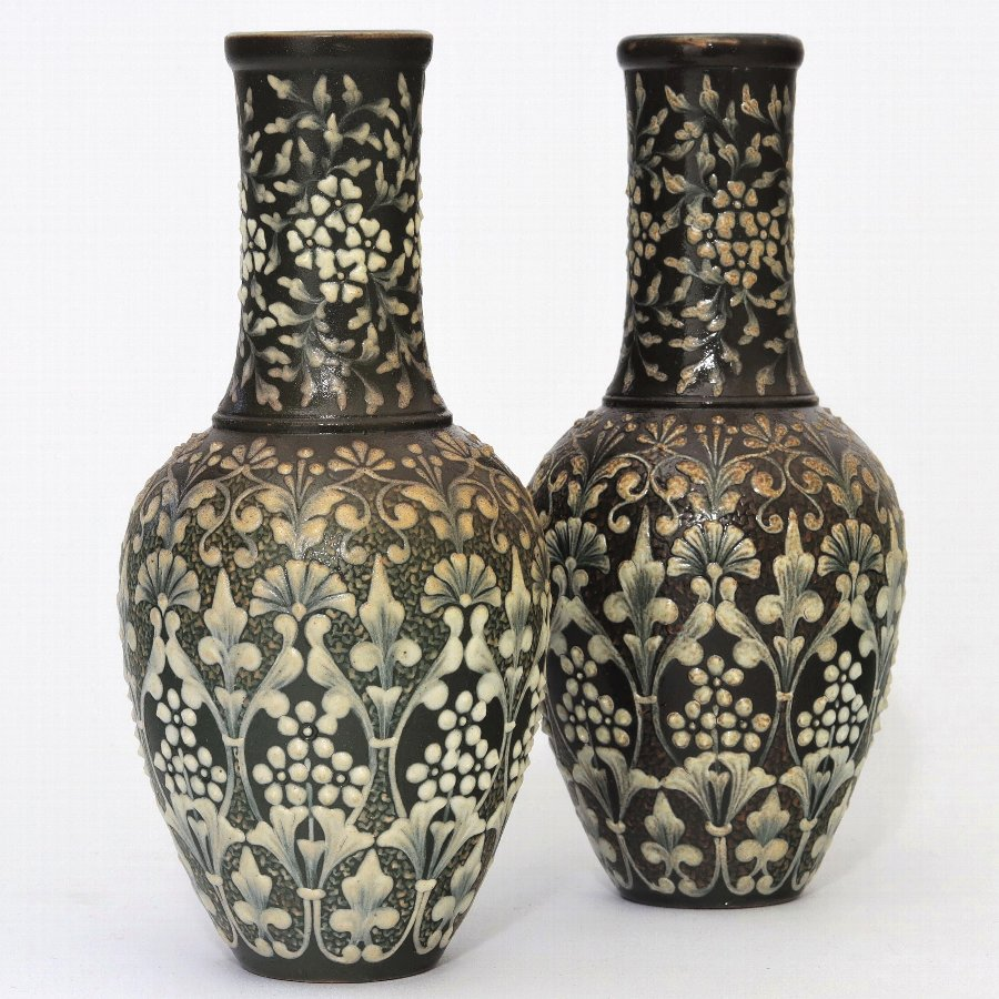 Exquisite Pair of Doulton Lambeth Pate-Sur-Pate Vases by Eliza Simmance 1881