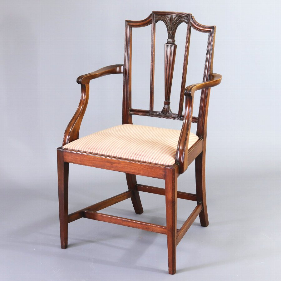 Sheraton Revival Edwardian Mahogany Elbow Chair c1905