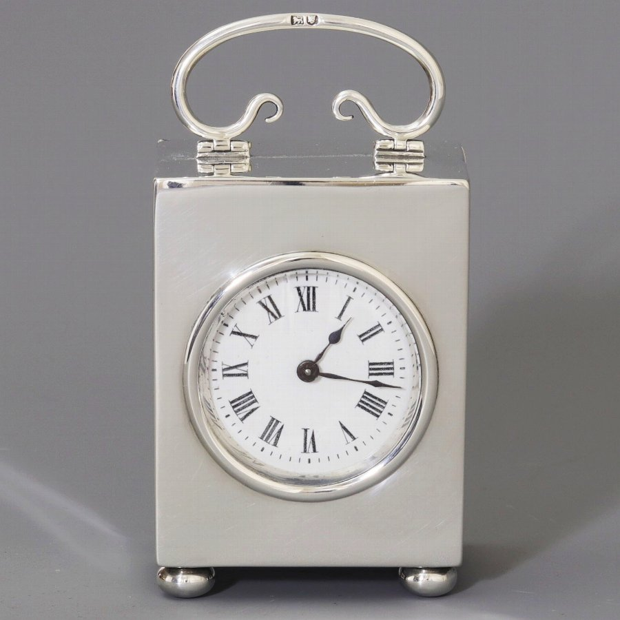 Small Silver Boudoir Carriage Clock by W&G Neal London 1906