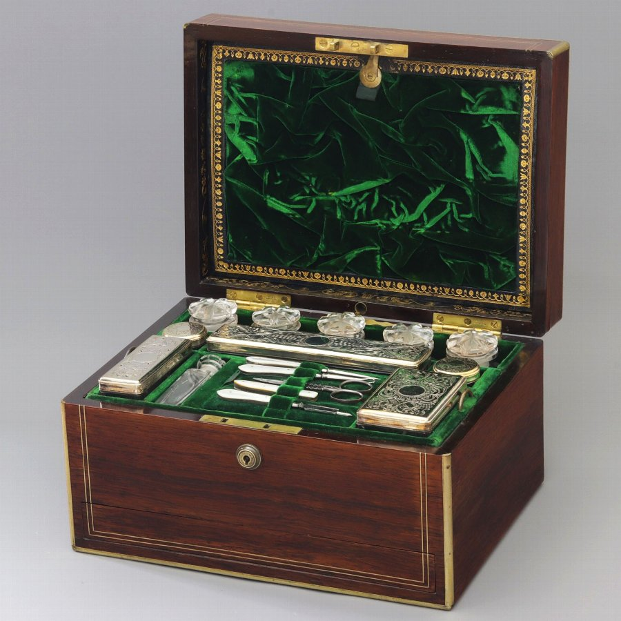 Brass Mounted Rosewood Ladies' Dressing Jewellery Box by Austins Dublin c1850