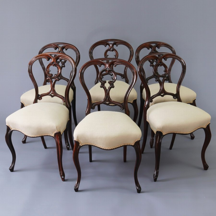Fine Set of Six Mid 19th Century Rosewood Balloon Back Chairs