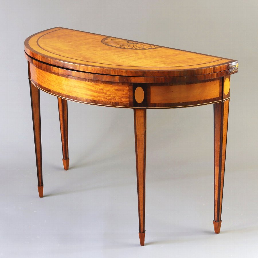 Fine George III Satinwood Inlaid Demi-Lune Card Table