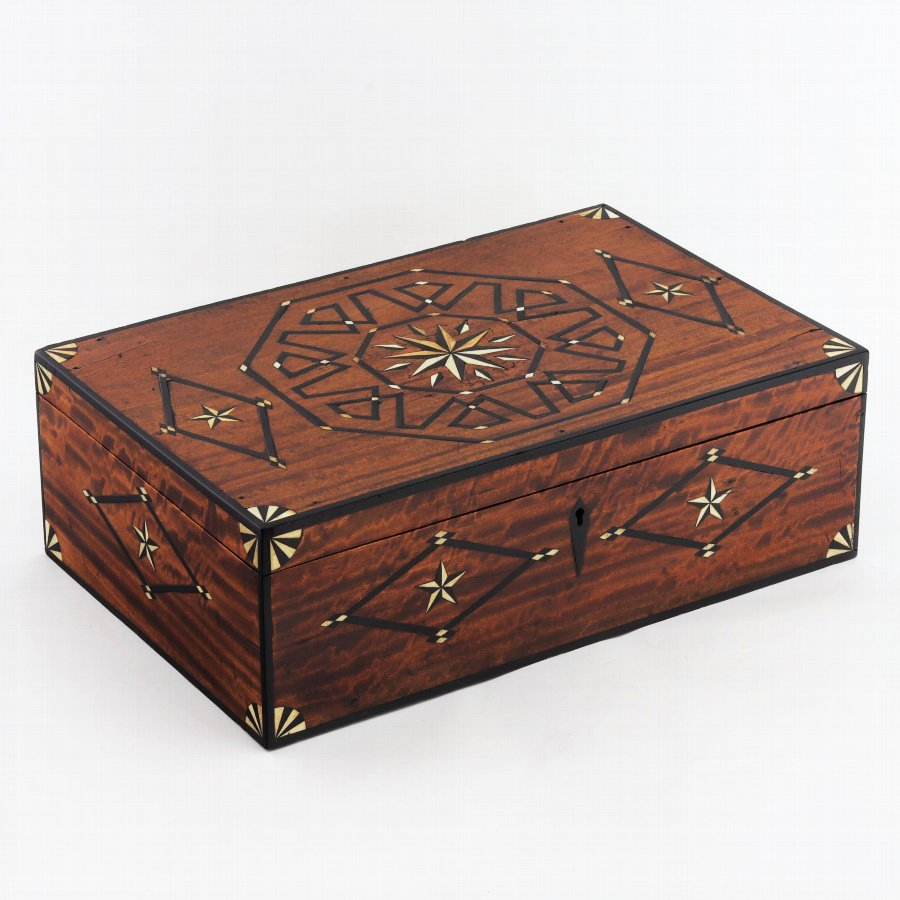 Early 19th Century Bone and Ebony Inlaid Solid Satinwood Box