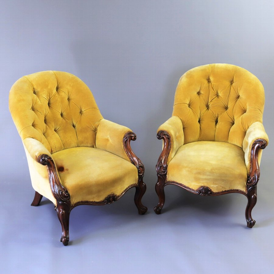 Pair of Early Victorian Rosewood Button Back Armchairs For Re-Upholstery