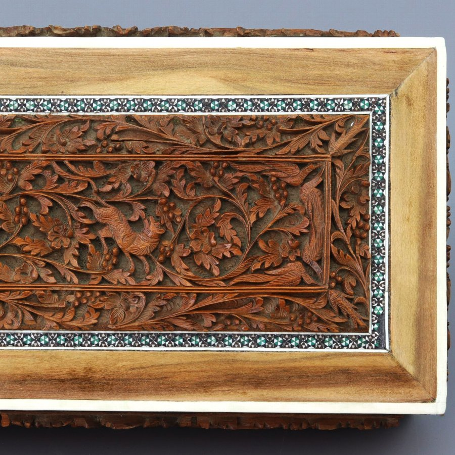 Antique Anglo-Indian Vizagapatam Carved Sandalwood and Inlaid Box