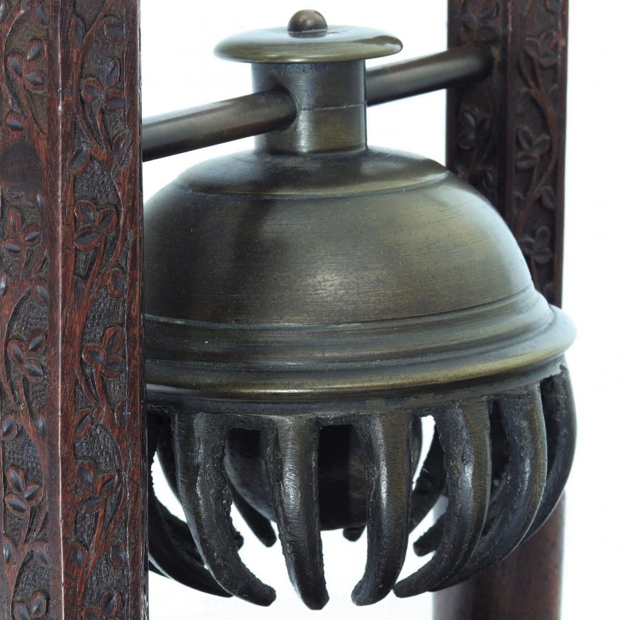 Antique 19th Century Bronze Indian Elephant or Claw Bell on Carved Stand
