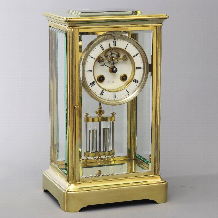 French Four Glass Brass Mantle Clock signed Hry Marc Paris c1875