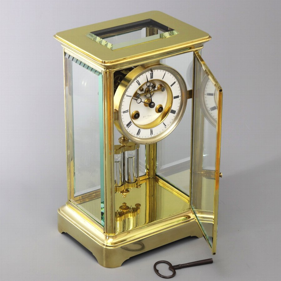 Antique French Four Glass Brass Mantle Clock signed Hry Marc Paris c1875