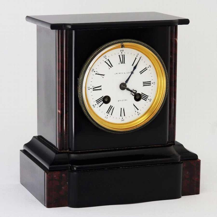 Quality Victorian Black Slate and Marble Mantle Clock by Brocot c1875