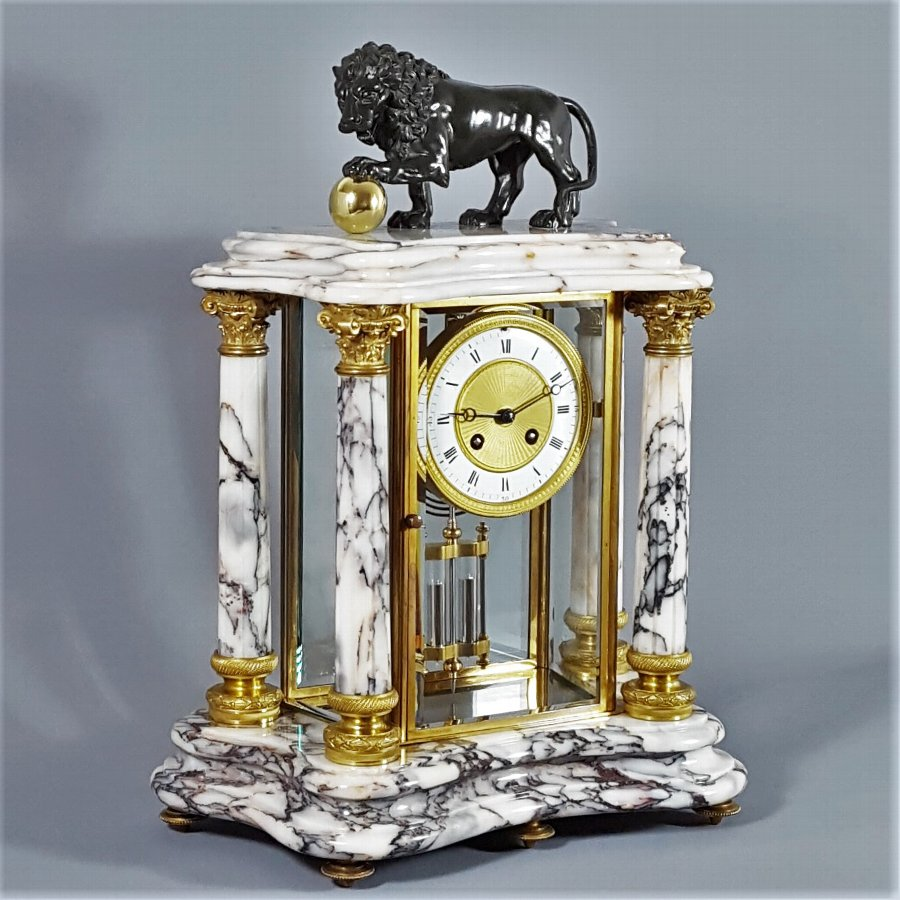 French Carrara Marble & Gilt Four Glass Brass Mantle Clock. Japy & Cie c1880