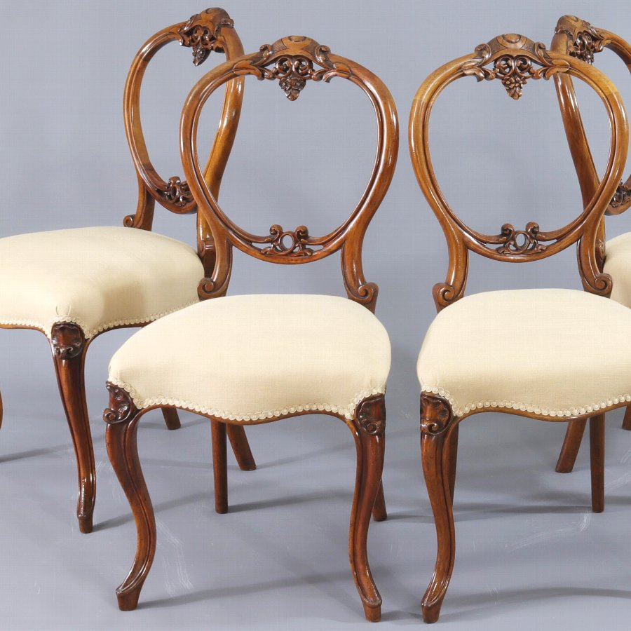 Finely Carved Quality Set of Four Walnut Balloon Back Dining Chairs c1845
