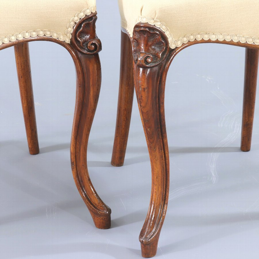 Antique Finely Carved Quality Set of Four Walnut Balloon Back Dining Chairs c1845