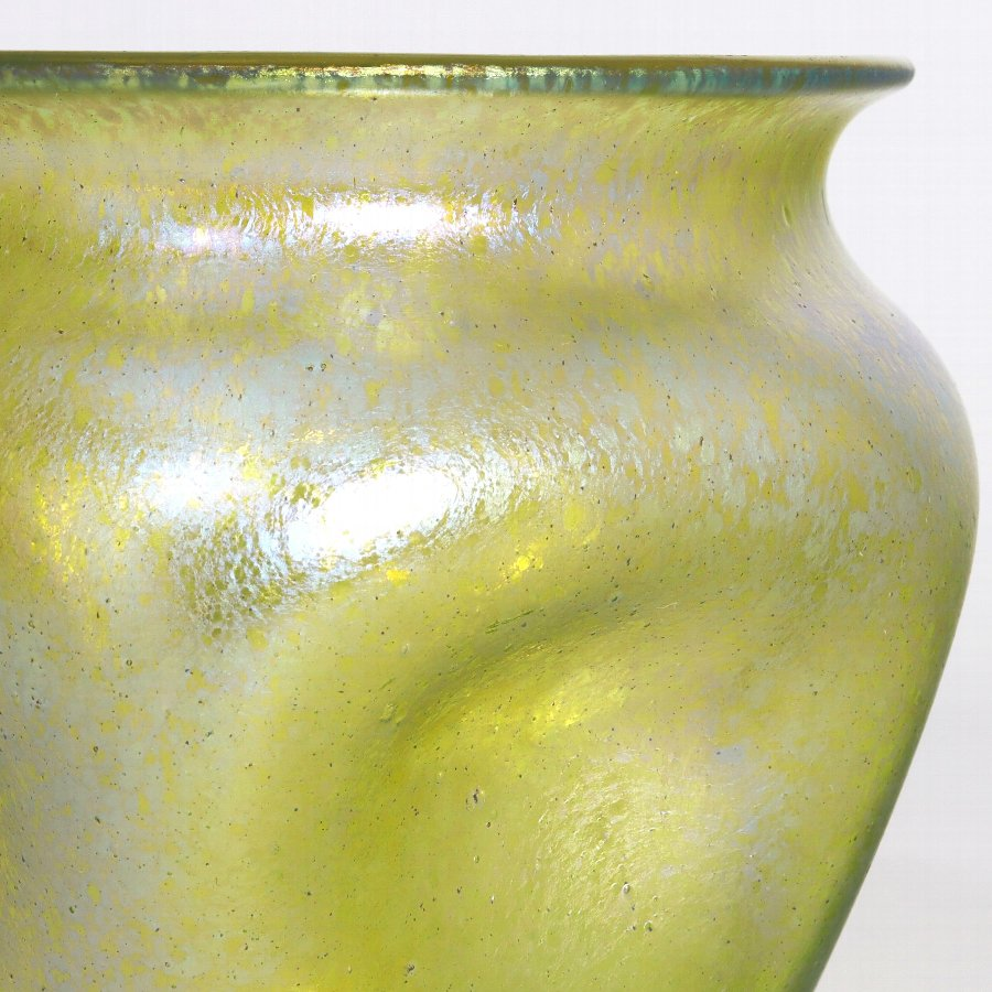 Antique Loetz Candia Silberiris II Iridescent Dimpled Glass Vase c1910