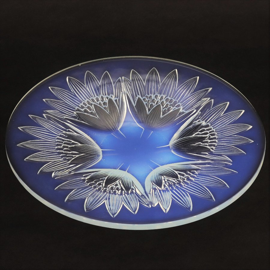 Antique Art Deco French Opalescent Glass Dish by Pierre D'Avesn