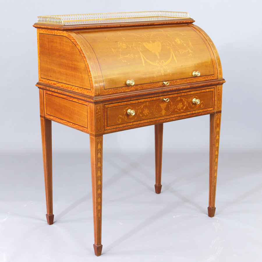 Fiddleback Mahogany and Satinwood Marquetry Inlaid Cylinder Top Desk c1900