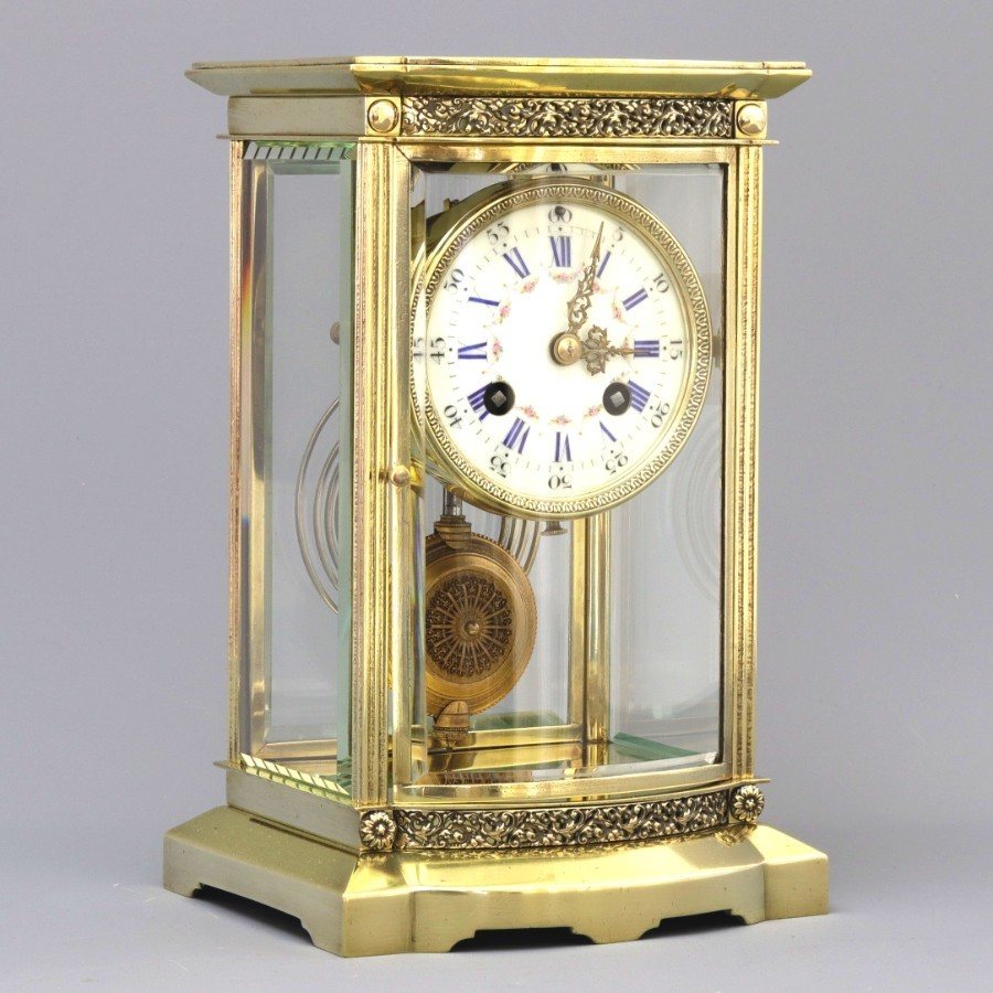 French Bow Fronted Four Glass Mantel Clock c1880
