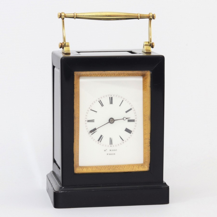 French Ebonised Striking Carriage Clock by Henry Marc, Paris c1850