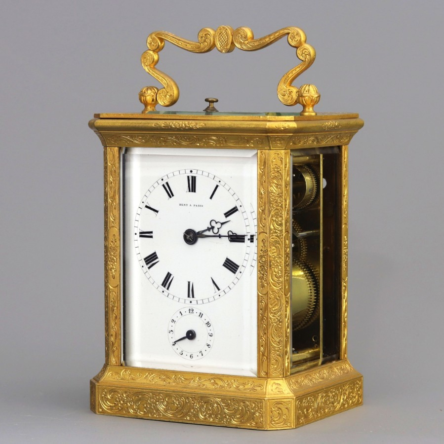 Gilt Engraved Repeat Alarm Carriage Clock by Paul Garnier Signed Dent c1860