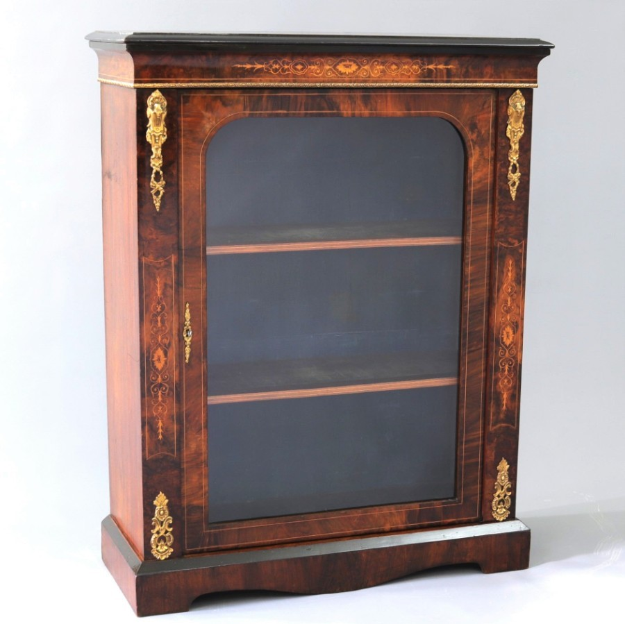 Marquetry Inlaid and Ormolu Mounted Burr Walnut Pier Cabinet c1860