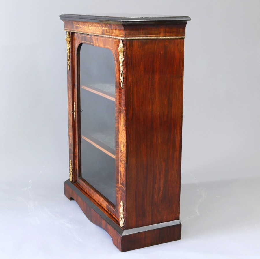 Antique Marquetry Inlaid and Ormolu Mounted Burr Walnut Pier Cabinet c1860