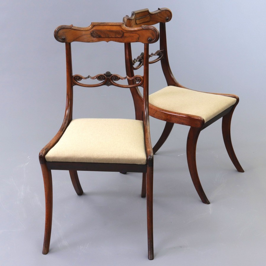 Antique Pair of Regency Rosewood Sabre Legged Salon Chairs c1810