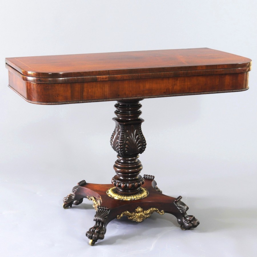 Regency Rosewood Foldover Pedestal Tea Table with Gilt Mounts c1815