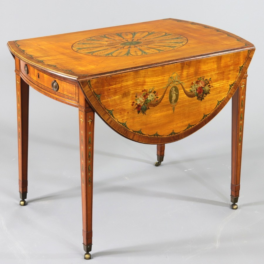 George III Satinwood and Kingwood Decorated Oval Pembroke Table c1790